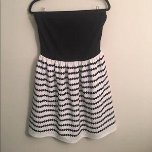 Francesca's black and white strapless dress